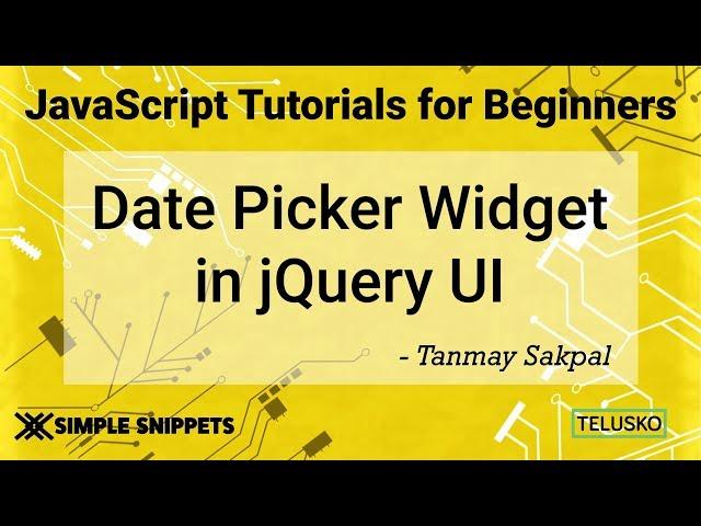 Date Picker Widget Control in JQuery UI