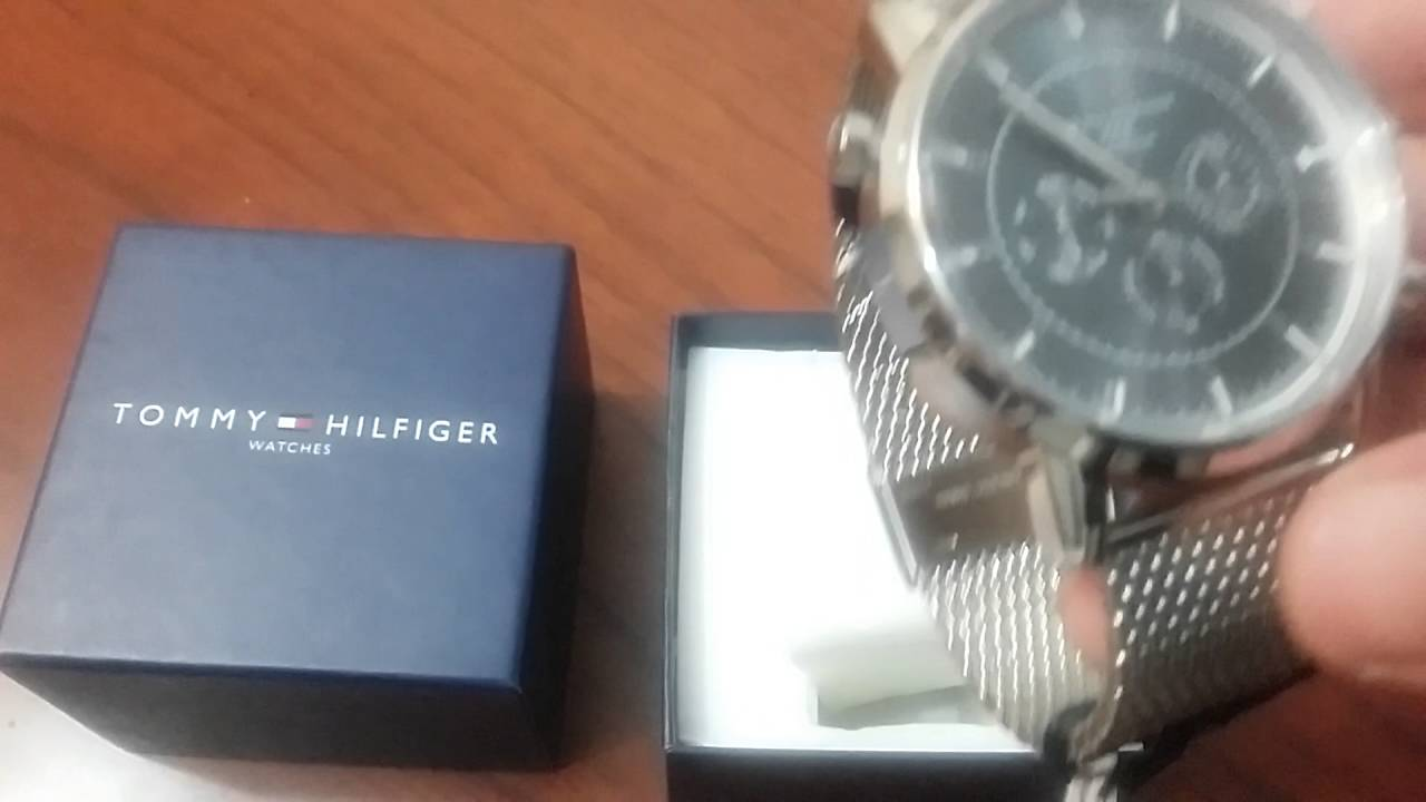 1800338f385 Tommy Hilfiger Men s 1790877 Silver-Tone Stainless Steel Watch - YouTube