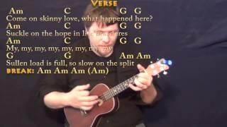 Skinny Love (Bon Ivers) Ukulele Cover Lesson with Chords/Lyrics
