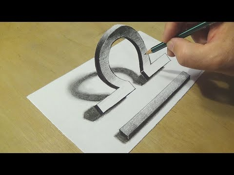 Astrology Symbol Libra - How to Draw Libra Sign - Trick Art on Paper with Pencil - VamosART