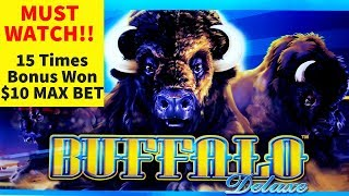 MUST WATCH ! 15 Times Bonus Won on BUFFALO DELUXE Slot Machine | Wonder 4 JACKPOT Slot | Live S;ot
