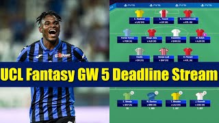 UCL Fantasy Gameweek 5 Deadline Stream   Best replacements for Lewandowski & Meunier?