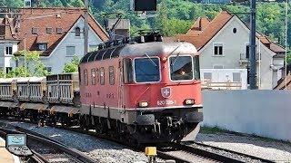 Baden mit Züricher S-Bahn (Stadler KISS), IR bzw. IC (Re 420), Postzug, Güterzug +Re 620