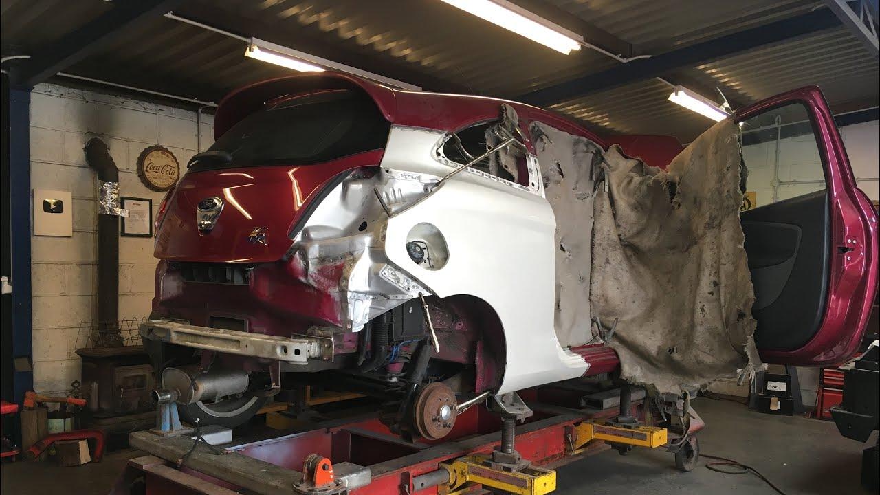 Copart Ford KA Salvage Rebuild On The Jig Frame Machine
