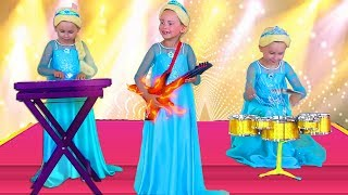 Alice Pretend Frozen Elsa And Anna Plays with Musical Instruments & celebrating Birthday