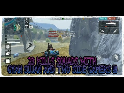 RANKED 23 KILLS SQUADS GAME FEAT.GYAN SUJAN AND TWO SIDE GAMERS !! Garena free fire !!!