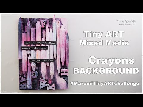 Tiny Art Canvas with Used Pencils Crayons Background #MaremiTinyARTchallenge #1