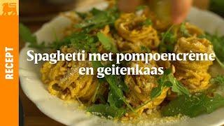 Spaghetti met pompoencrème en geitenkaas