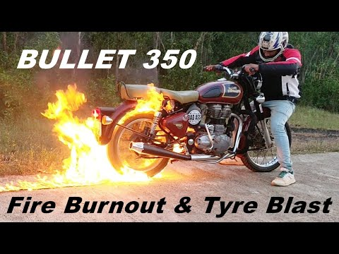 Fire Burnout Gone Wrong on Bullet 350 - Royal Enfield Stunts