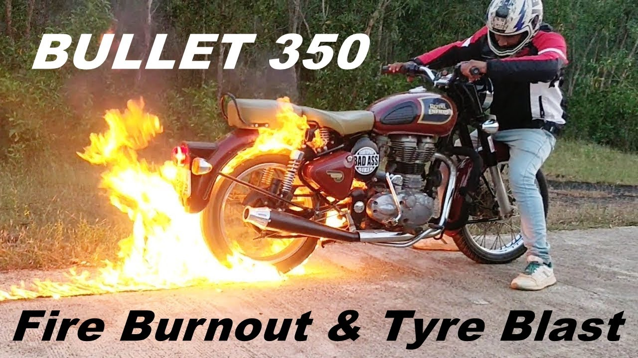 Download Fire Burnout Gone Wrong - Bullet 350 Stunts - Review - Pros & Cons #withme