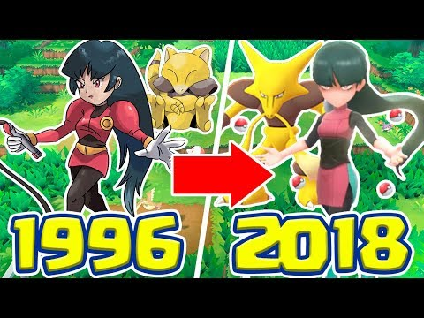A EVOLUÇÃO DOS GYM LEADERS E E4 - 1996 VS 2018 (R/G/B/Y VS LETS GO)!!