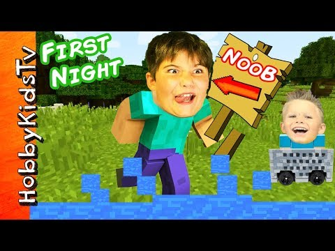 Minecraft HobbyNOOB First Night! HobbyKids Find Toys in Video Game + HobbyDad Werewolf HobbyKidsTV