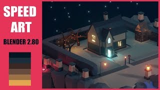 Low Poly Blender 2.8 [ Speed Art ] #1 Mystery House