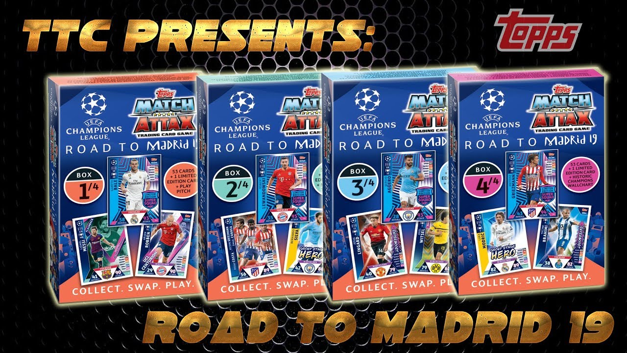 TOPPS Road to Madrid 2019 Champions League Alle 4 Karten Decks