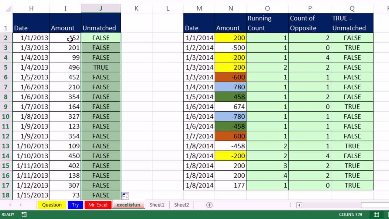 Mr excel excelisfun trick 156 find unmatched positive negative numbers in a column youtube