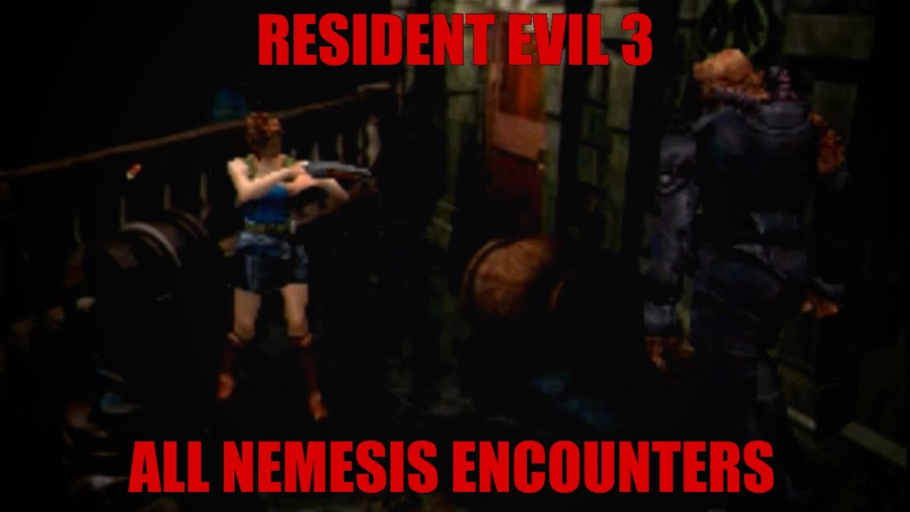 Resident Evil 3 Nemesis - All Nemesis Encounters (Hard)