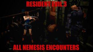 Resident Evil 3 - All Nemesis Encounters (Hard)