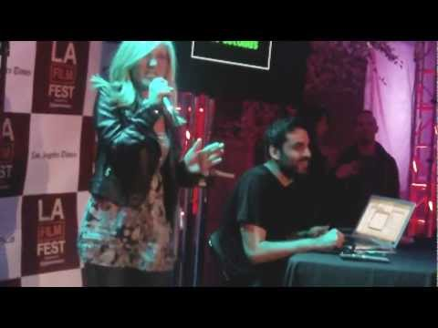 Karaoke...perky blond takes stage at LA Film Festival!