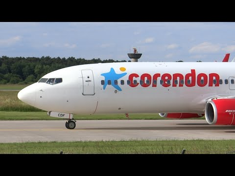 New Corendon B737-800 close takeoff from Hannover!