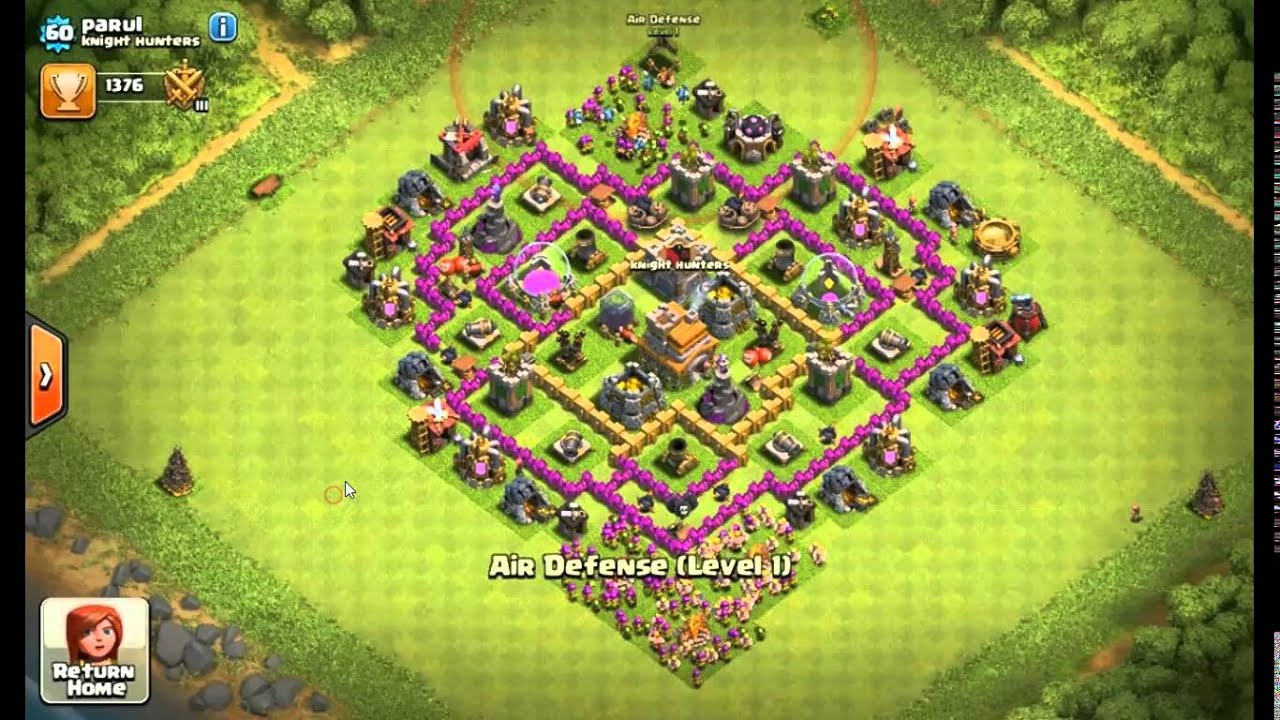 Clash of Clans- TH7 3 Air Defence Base [Anti Everything ...