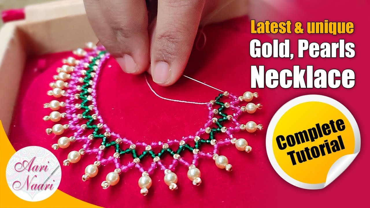 Latest-model gold and pearls necklace full tutorial | ruby, Emerald & gold beads jewellery