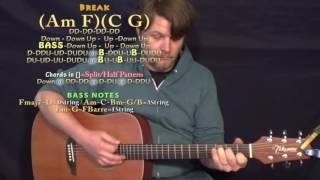 A Guy With A Girl (Blake Shelton) Guitar Lesson Chord Chart - Am F C G - 16th Strum