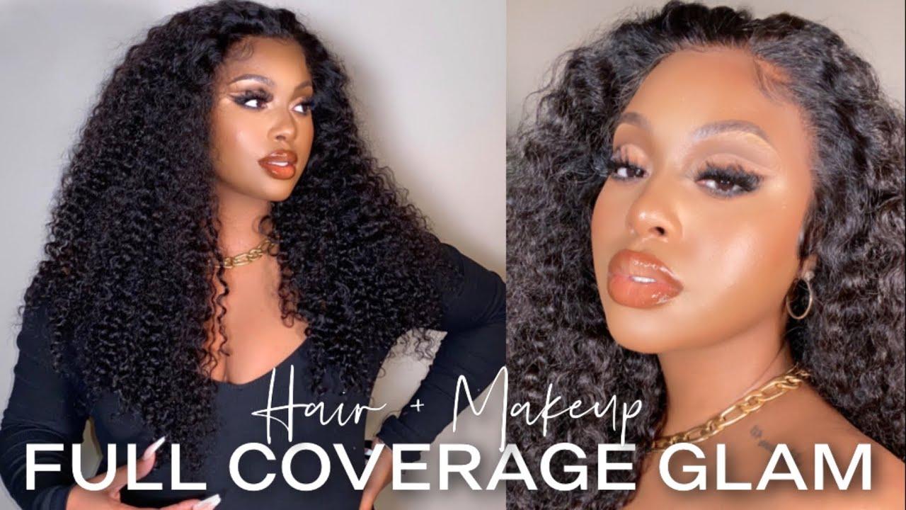 GRWM: Flawless Full Coverage Makeup Tutorial + Easy Curly Wig Installation + Girl-Chat   Klaiyi Hair