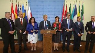 France, Netherlands, UK, Italy, Germany & others on the Middle East - Media Stakeout (15 May 2018) thumbnail