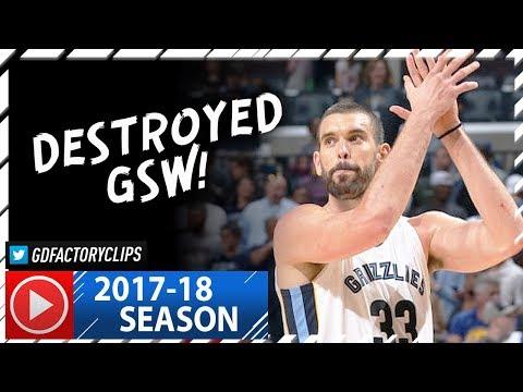 Marc Gasol Full Highlights vs Warriors (2017.10.21) - 34 Pts, 14 Reb, BEAST!