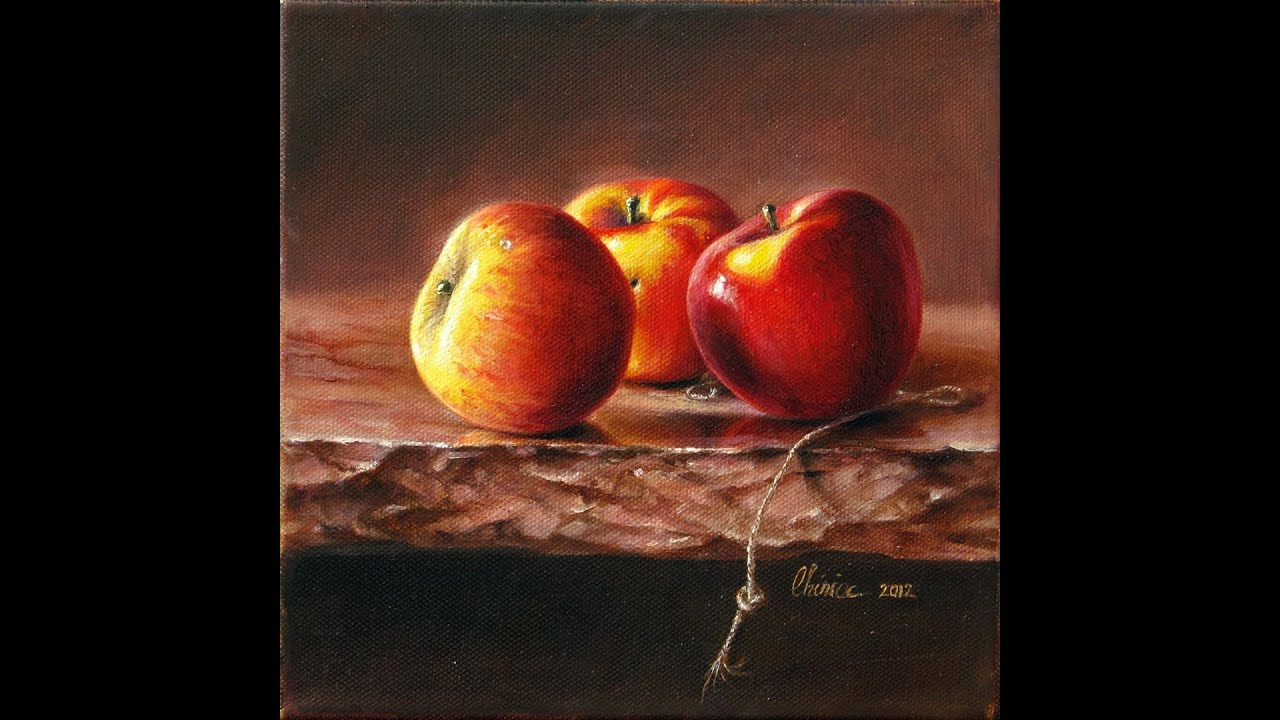 realist oil painting video time lapse how to paint realistic apple
