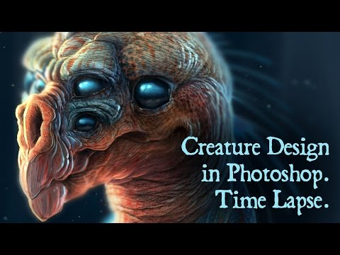Photoshop Creature Concept Design, Time Lapse