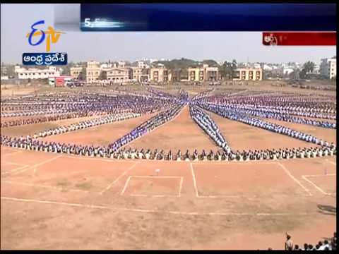 Watch | Human Garland of Ashoka Chakra With 5571 Students |An Unique Feet Done at Srikakulam