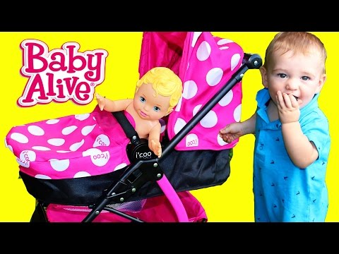 CUTE BABY STROLLER! Baby Eli Walking ~ Top Toys For Girls ~ Funny Baby Alive Kids Videos