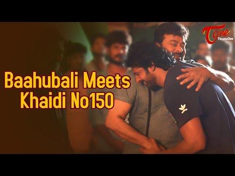 Baahubali Prabhas Meets Mega Star Chiranjeevi on #KhaidiNo150 Set