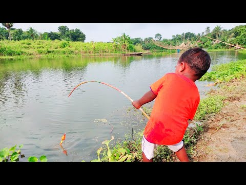 really amazing hook fishing video 2021✅little boy hunting fish by hook in beautiful nature🥰🥰