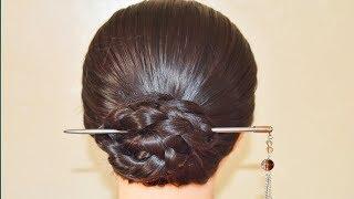Hair bun from bun stick// Easy bun