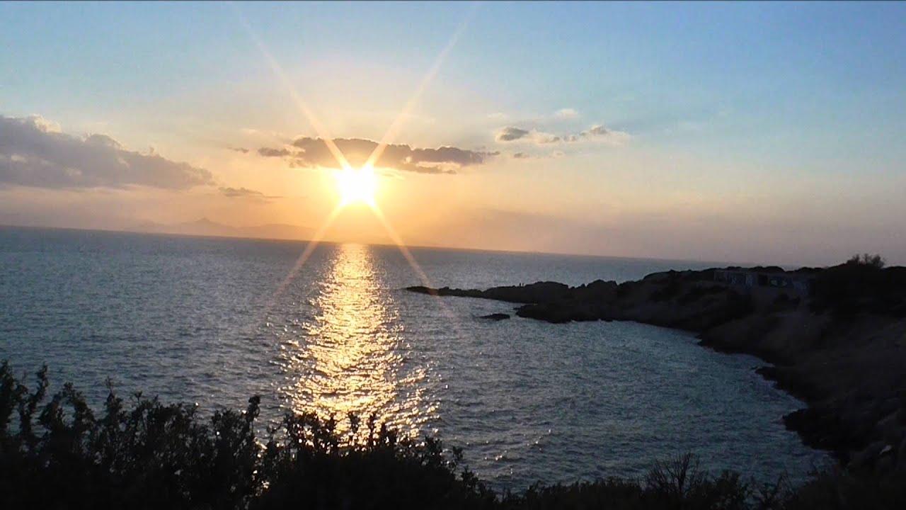 Ηλιοβασίλεμα Λαιμός Βουλιαγμένης Καβούρι. HD - YouTube