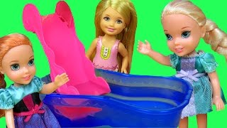 POOL Fun ! ELSA & ANNA toddlers & Chelsea slide Shopkins in the water! Splash Swim Play !