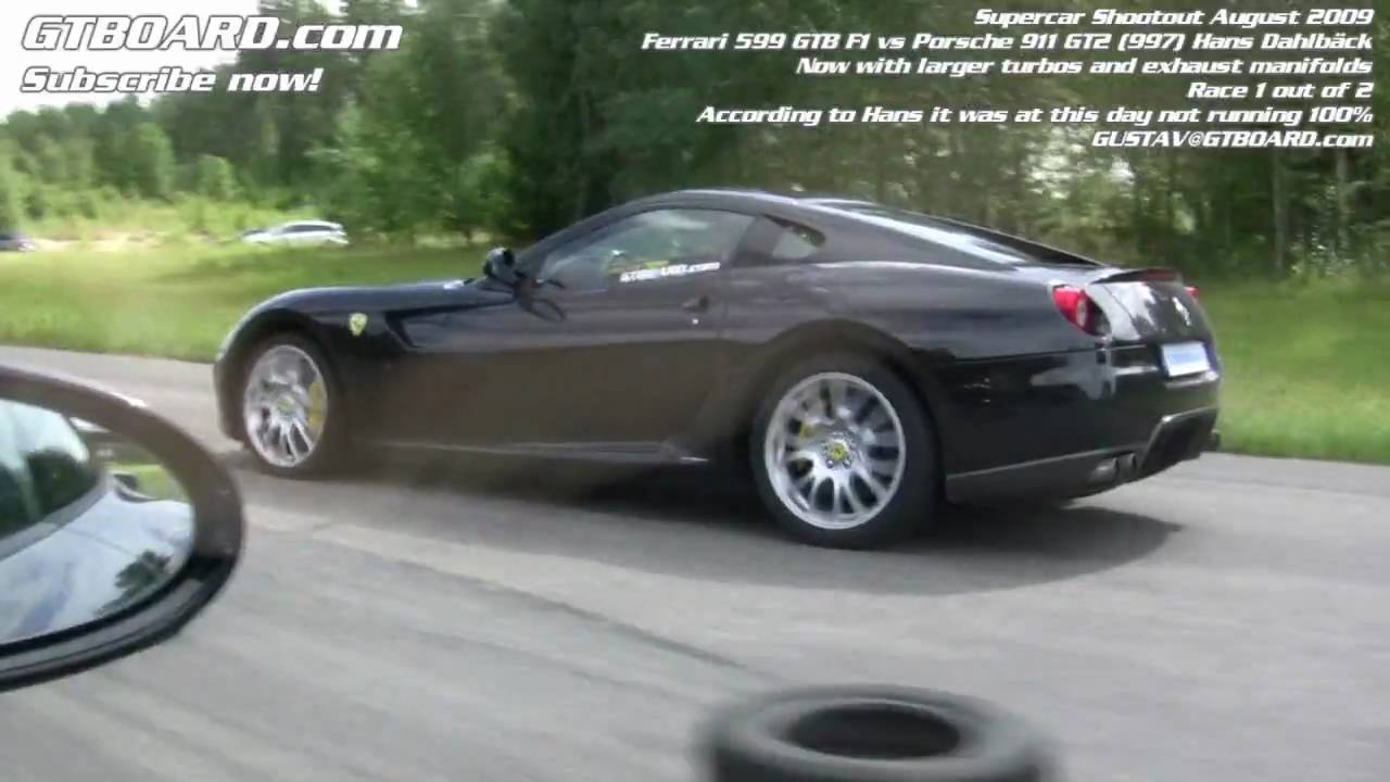hd ferrari 599 gtb f1 vs porsche 911 gt2 hd 997 youtube. Black Bedroom Furniture Sets. Home Design Ideas