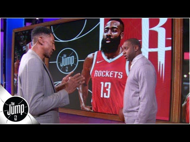 Scottie Pippen demonstrates how he would defend James Harden -- and Michael Jordan | The Jump: OT