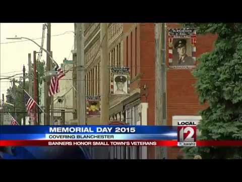 Memorial Day banners in Blanchester honor service men and women