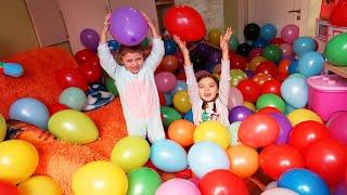 Balloon room   Children Play and Break Balloons   Kids Video