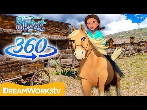 360° VR Galloping Thru Ghost Town!  SPIRIT RIDING FREE