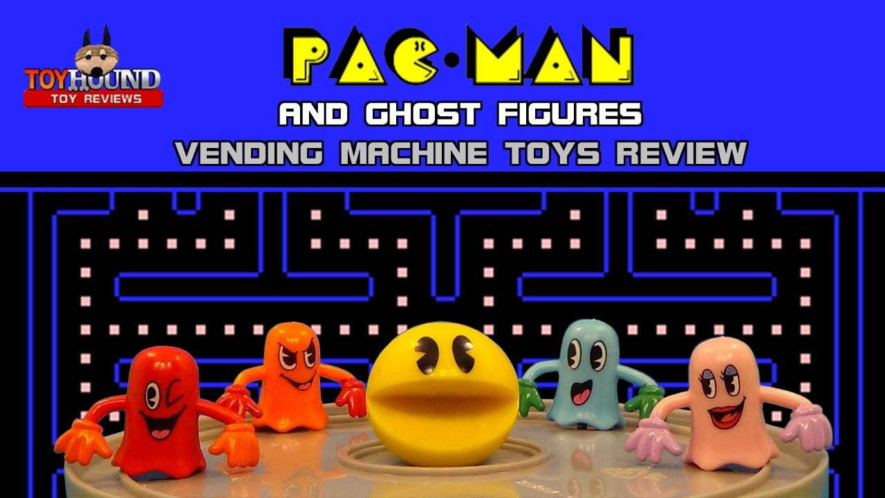 Pac man and ghost figures set vending machine toys review youtube