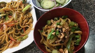 Spicy Peanut Noodles Recipe/Cooking & Eating Sounds- ASMR