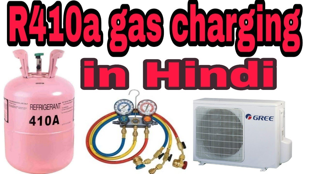 R410a gas charging in hindi - YouTube