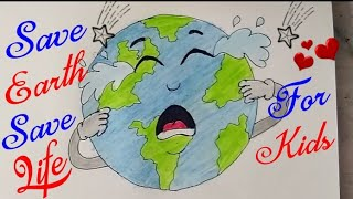 How To Draw SAVE EARTH SAVE ENVIRONMENT Drawing For Kids Step By Step || Save TREES, Save Future ||