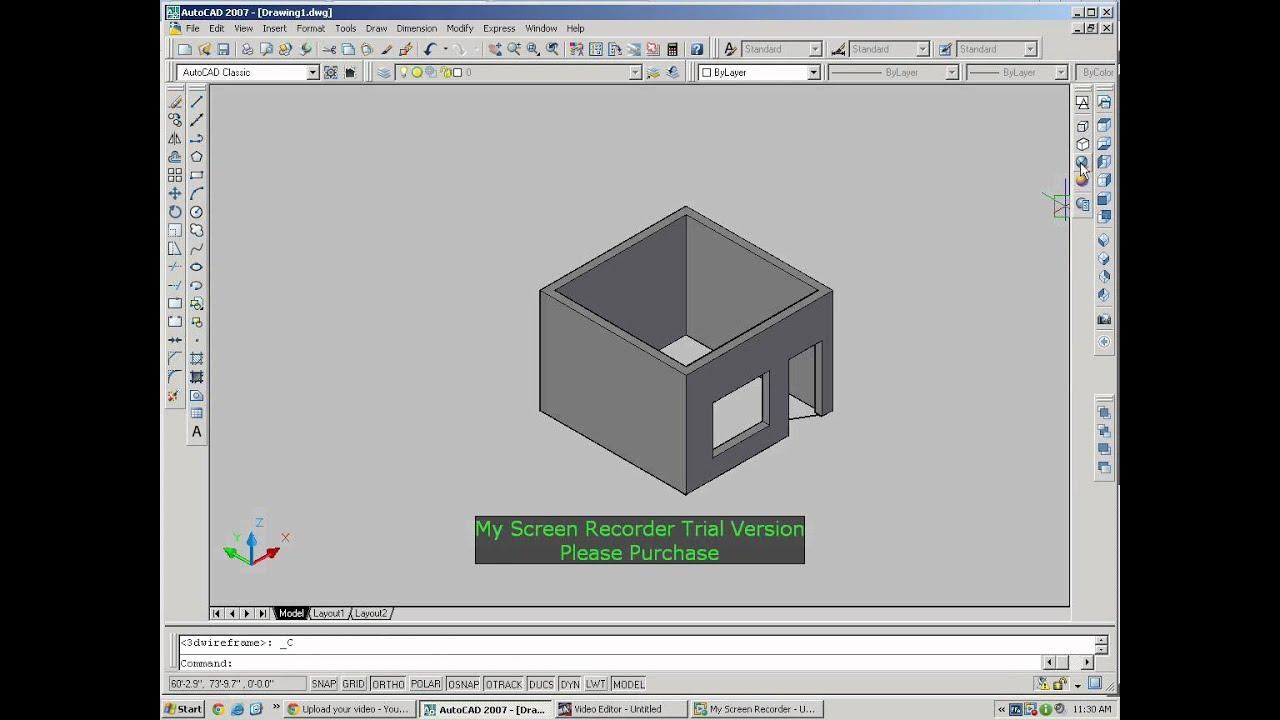 1 room convert to 3d autocad 2007 youtube for Cad room design free