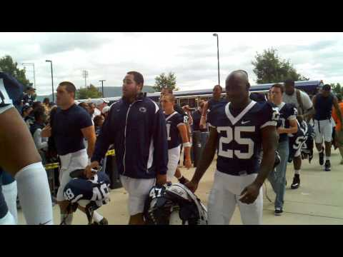 Robert Bolden leading PSU off the bus against Youn...