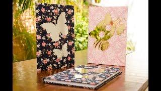 Caderno Decorado com Espelhos e Tecidos de Algodão